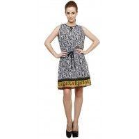 de14e567d40c3 Vastrasutra Sleeveless Self design Women s Multi Color Georgette Office  Dress