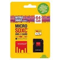 Strontium 64GB 85MB/S (Class10) 566X Nitro Micro SD Card UHS-1