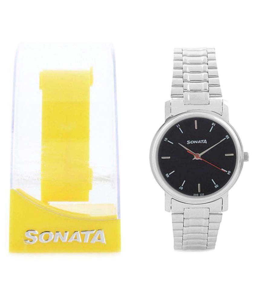 Sonata Silver Analog Nh7987sm04cj Men's Watch In Steel