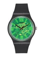 Swatch Unisex Green Swiss Made Skeleton Analogue Watch SUOB166