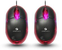 Zebronics Neon Wired Optical Mouse(USB, Black & Red)
