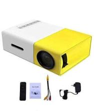 Odile Portable LED Projector Office. HD Theater Support USB HDMI Mini 1080p EU Plug 600 lm Portable Projector(Yellow)