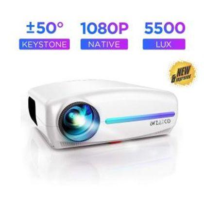 WZATCO S2 Native 1080P Full HD LED Projector, 5500 Lumens 4D Correction Home Cinema (White)